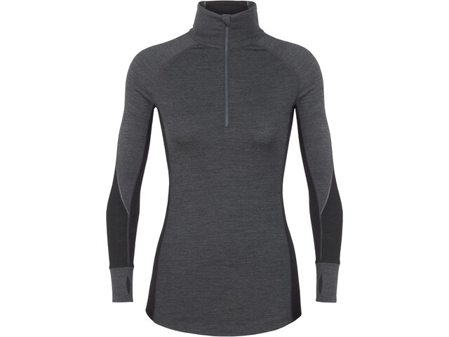Icebreaker 260 Zone Longsleeve Trui Halve Rits Dames, jet heather/black